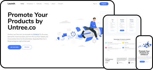 Launch free html css website template
