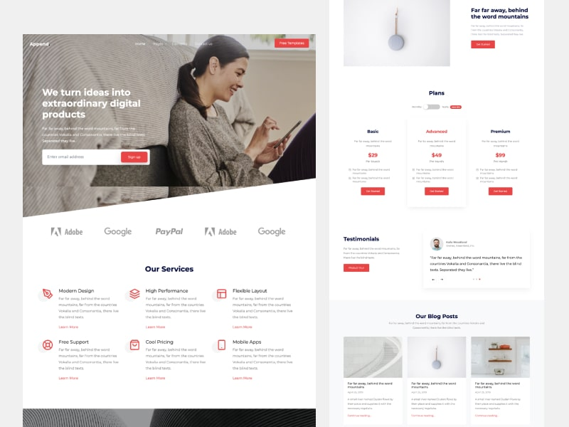 Append Free Bootstrap Template