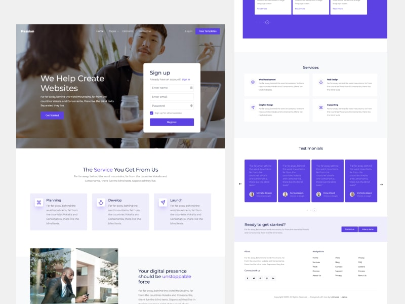 Passion Free Bootstrap Template