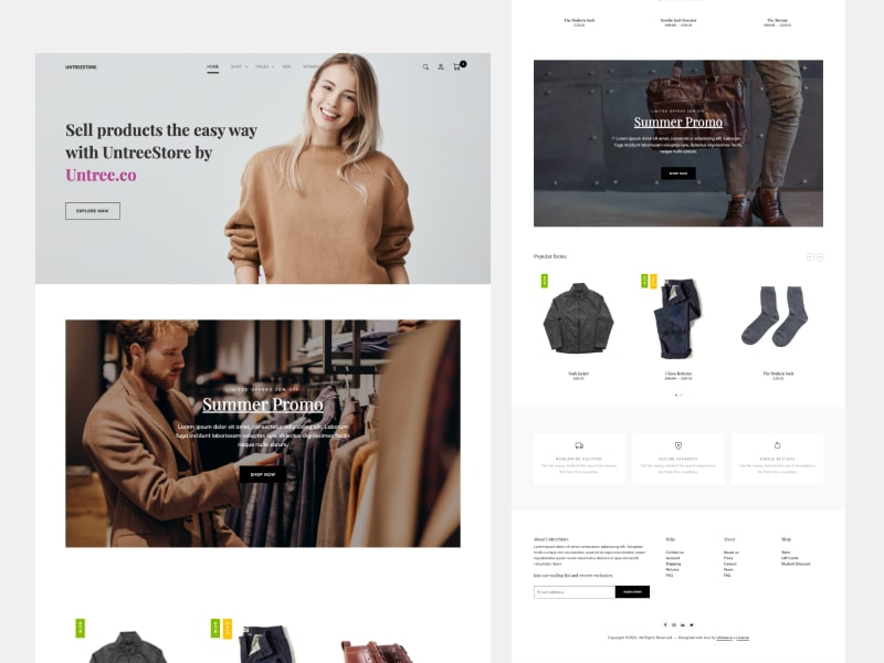 UntreeStore - Ecommerce Free Download Bootstrap Template
